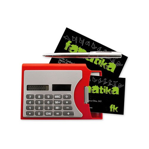 Calculatrice porte-cartes avec stylo